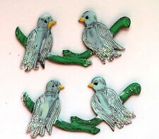 #633K Vintage Bird Birds Findings Stampings Hand painted NOS Components Brass