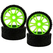 SET RC 1:8 On-Road Car Buggy Foam Rubber Tyre Tires Wheel Rim Green 84G-803