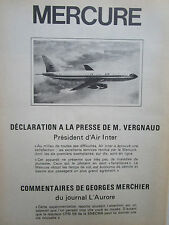6/1975 PUB AVIONS MARCEL DASSAULT MERCURE AIRLINER AIR INTER CFM 56 FRENCH AD