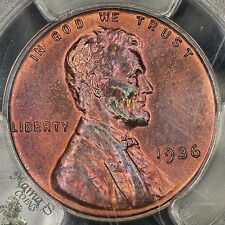 1936 Type 1 Satin Proof 1C Lincoln Cent Wheat Penny PCGS PR-64 RB Colorful Toned