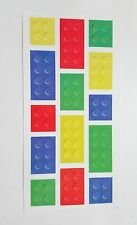 Pack of 14 - Brick Block Temporary Tattoos - 1 Sheet - Lego Party Bag Filler