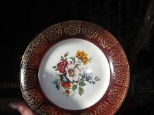 ELEGANT DISPLAY PLATE HIGHLY LACE GILDED RED MAROON RIM FLORAL CENTRE 8.5""