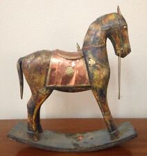Vintage Wood Brass/Copper Rocking Horse Figurine Statue India