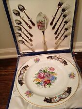 T. LIMOGES Porcelain hand painted Cake Plate 13 pc Serving Flatware - Portugal