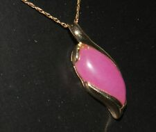 "CHARMING 10k YELLOW GOLD CHAIN (18"")  WITH LAVENDER JADE PENDANT"