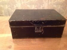 Vintage Black Steel Strong Box Cash Tin Good Hinges, Handles Nice Object