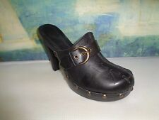 White Mountain Secret Black Leather Studded Mule heels Sz 8
