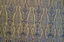 Pure Silk Brocade Weaving Fabric Navy Blue, Metallic Gold By Yard