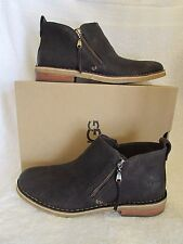 UGG Australia W Clementine Leather Ankle Boots Booties Size 11 Dark Brown NEW