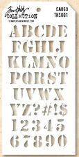 Tim Holtz Layering Stencil Template - Cargo - Army Letters, Alphabet & Numbers