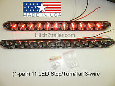 "(2) Truck Trailer Stop Tail Turn Light 11 LED Clear/ Red 15"" low profile USA"