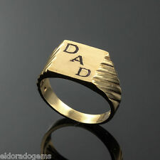 FATHER'S DAY MENS DAD SIGNET RING 14K YELLOW GOLD SIZE US 8.75