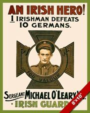 IRISH GUARDS ARMY SOLDIER RECRUITING WWI PROPAGANDA POSTER REAL CANVAS ART PRINT