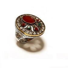 925 Overlay Red Ruby & Green Emerald Designer Turkish Style Beautiful Ring