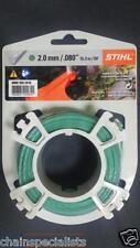 """Genuine Stihl Strimmer Wire / Cord 2.0mm / .080"""" x 15.3m / 50' Green, Round"""