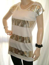 NEW IVORY CREAM INTERNACIONALE DISTRESS FOIL STRIPE SCOOP NECK VISCOSE TOP 10