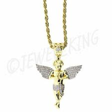 MENS 14K GOLD FINISH .925 STERLING SILVER MICRO MINI ANGEL PENDANT & ROPE CHAIN