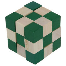 Cube Snake Puzzle Magic 3D Wooden Toy Game Kids Baby Children Twist Gift N3