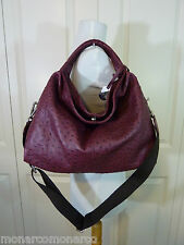 NWT Furla Burgundy Red Wine Ostrich Embossed Leather S/M Elisabeth Tote Bag $598