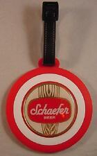 SCHAEFER BEER LOGO RED & WHITE RUBBER TARGET LUGGAGE TAG NEW