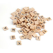 100 Wooden Alphabet Scrabble Tiles Black Letters & Numbers For Crafts Wood MC