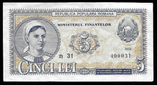 World Paper Money - Romania 5 Lei 1952 P83 @ VF+ Cond.