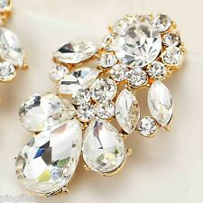 Hot New Design Lady White Crystal Bling Rainbow Drop/Dangle Earring 3.6cm E467