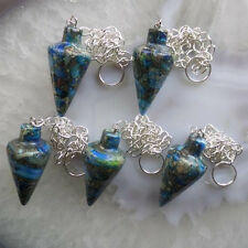 SY867 5pcs Beautiful Blue Sea Sediment Jasper & Pyrite pendulum Pendant Bead