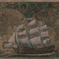 Old World Global Maps & Sailing Ships - Metallic Brass - Wallpaper Border A151