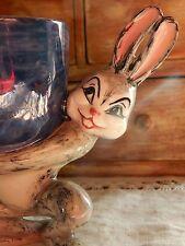 Vintage Easter Egg Holder Cup Rabbit Bunny Ceramic Pottery