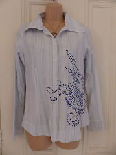 Lovely white cotton blend slightly fitted Fat Face shirt blue embroidery UK 12