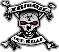 "1 - 4"" x 4.5"" Zombie Off- Road Skull Bone Decals Stickers Bio Hazard 1300"