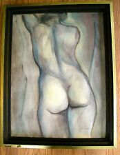 60's Nude Painting of a Woman Jill C. Sanders Signed Listed Artist Portrait