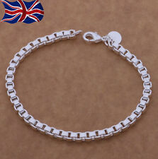 "925 Sterling Silver Bracelet Chain Link Charm 7.75"" Ladies Girls Gift UK"
