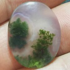 Natural 13.25 Carat Moss Agate Genuine Loose Gemstone Indonesia Quality Oval