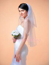 2T White Sequin and Beading Edge Elbow Length Bridal Wedding Veil With Comb 0025