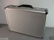"ALUMINUM METAL BRIEFCASE HARD CARRY CASE ATTACHE COMPUTER LOCKING 18"" VINTAGE"