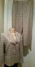 Faconnable Suit Fitted Jacket Cropped Capri Pant Size 14/16  Brown Plaid   PD8