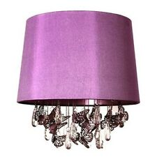 Large Purple Droplet  Butterfly Pendant Light Shade Plum Jewelled Shabby Chic