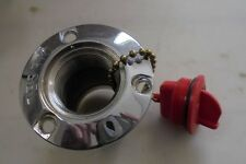 Marine Boat Diesel CHROME Fuel Gas Deck Fill With Key less Red Cap,  2""