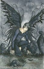 Amy Brown Print 5.5x8.5 Fairy Faery Raphael Black Feather Wings Angel Archangel