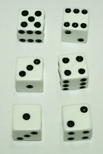 "6-White-Dice~Great for All Kinds of Games~5/8"" (16mm)~Buy-2-Deals-Get-3rd-FREE"