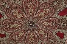 BLACK RED TAN PAISLEY MEDALLION UPHOLSTERY FABRIC 6 YDS