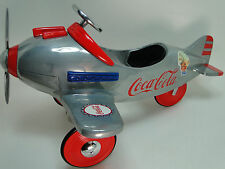 Air plane Pedal Car WW2 Vintage Red Trim Aircraft Rare Midget Metal Model 1 48