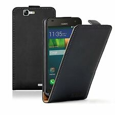 Ultra Slim BLACK Leather Flip Case Cover Pouch For Huawei Ascend G7 (+2 FILMS)