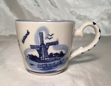 Beautiful Vintage Delft Blue & White Coffee Mug Cup Floral WINDMILL Holland NEW