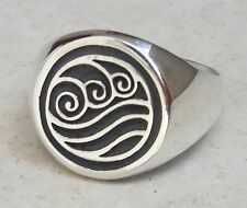 Solid Sterling Silver 925 Avatar Water Bender Ring
