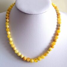 Antique Genuine BALTIC AMBER Royal White Butterscotch round bead necklace 15.8