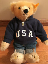 Ralph Lauren Polo 1993 Steiff Teddy Bear USA Varsity