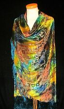 LUXURY LARGE SILK VELVET DEVORE SHAWL / CAPE SCARF HALF-MOON SHAPE WRAP ROUND*